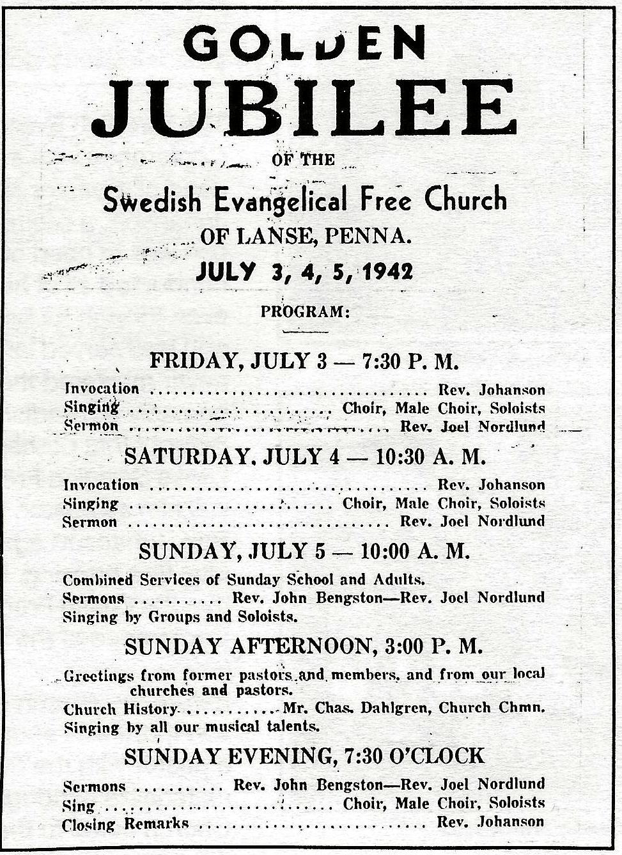 History lanse free church lanse pa golden jubilee celebration 1942 kristyandbryce Choice Image